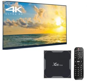 Image of a streaming box in front of a television